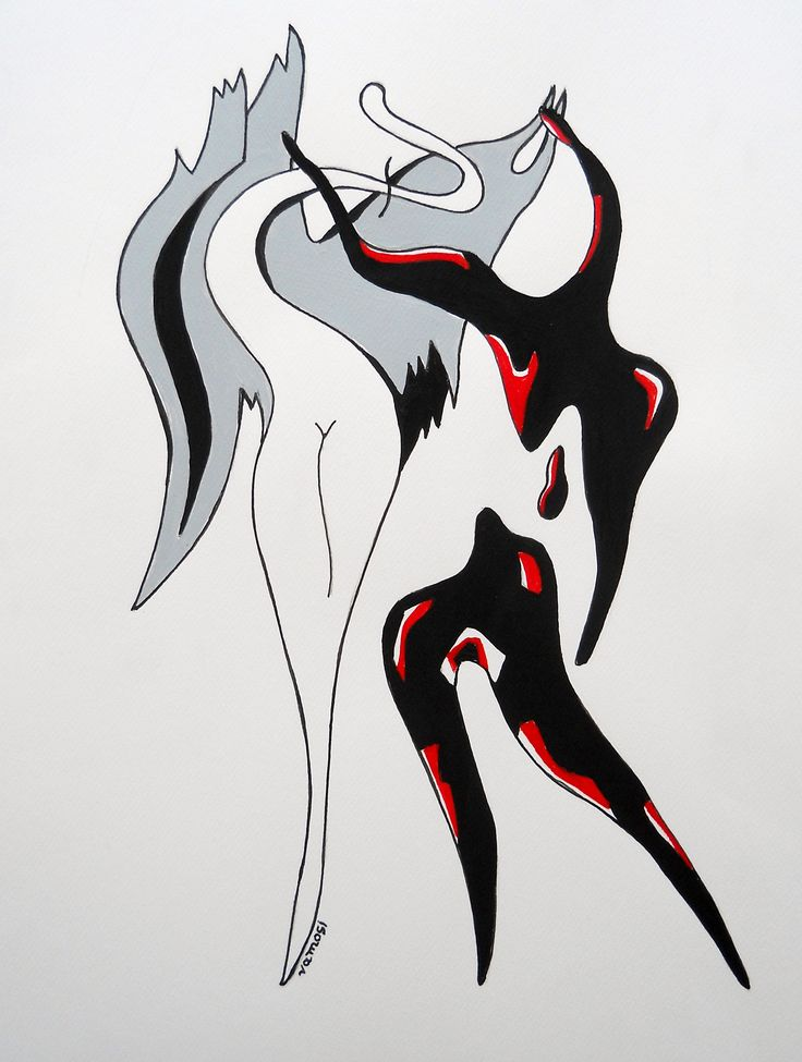 Angel and devil (red), acrylic on artistic paper, 30x40 cm from artist Peter Vamosi.