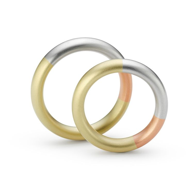 www.ORRO.co.uk - Niessing - Tricolour Gold & Platinum Wedding Rings - ORRO Contemporary Jewellery Glasgow...