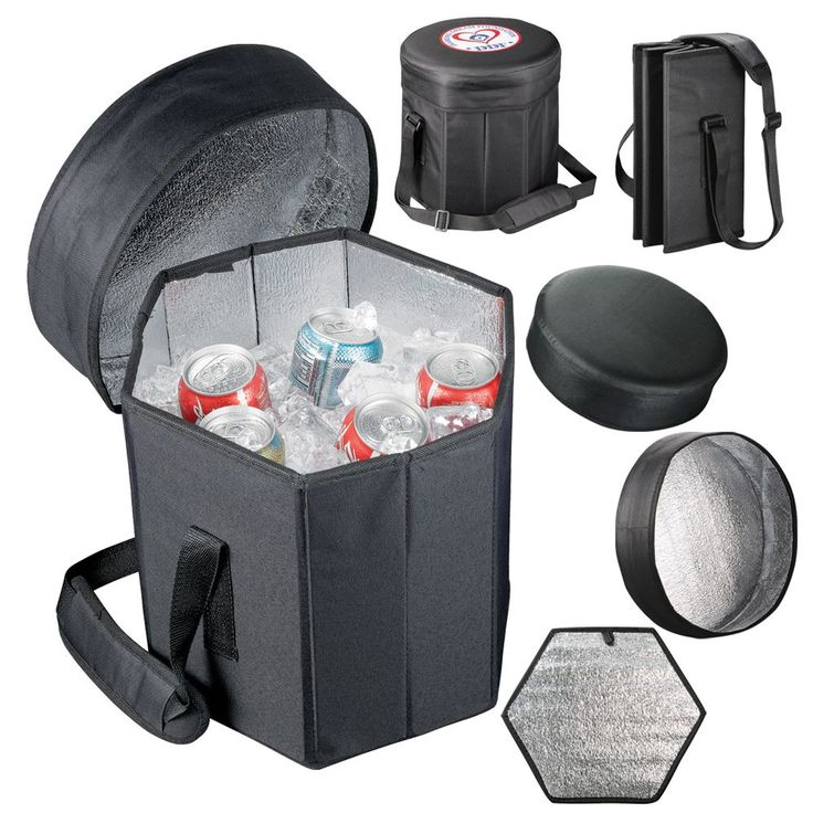 Great for the outdoors. A cooler that is a seat as well. Can support up to 90Kgs and holds up to 24 cans. Insulated liner. Ultra portable folds completely flat for storage. Manufactured from 600D Polycanvas.