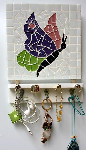 Porta bijouterias em mosaico borboleta