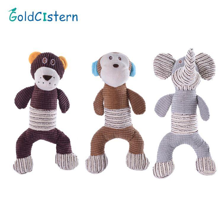 promo large size pet dog chew squeaker toys monkey lion elephant design stripe toys fun cat interactive #sound #bites