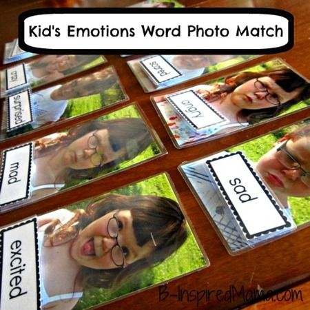 Leuk om samen met je klas te maken in het kader van leefstijl DIY Kids Emotion Matching Game with FREE Emotion Printable from B-InspiredMama.com