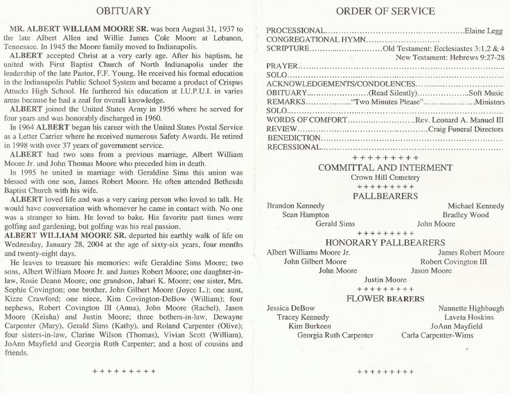 funeral order of service outline
