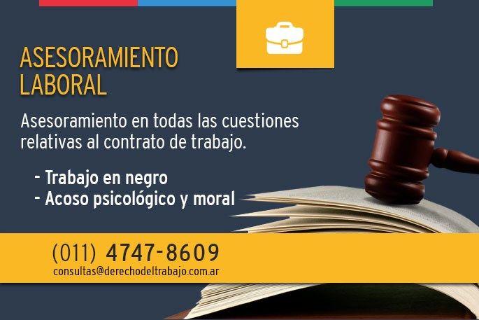 Asesoramiento Laboral abogado en despido laboral o accidente de trabajo. consulta de lunes a viernes de 9 a 19hs. 4747-8609