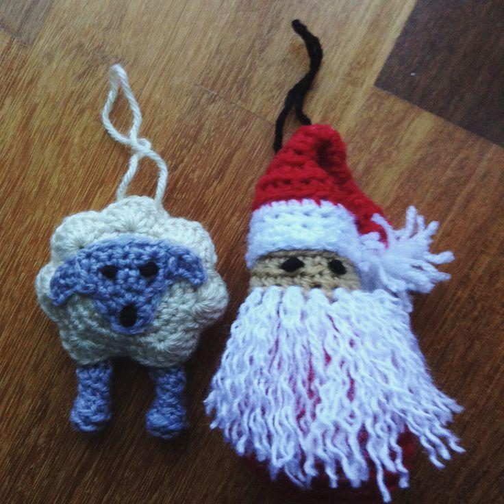 Amigurumi Sheep and Santa Christmas Ornaments crochet 🎄