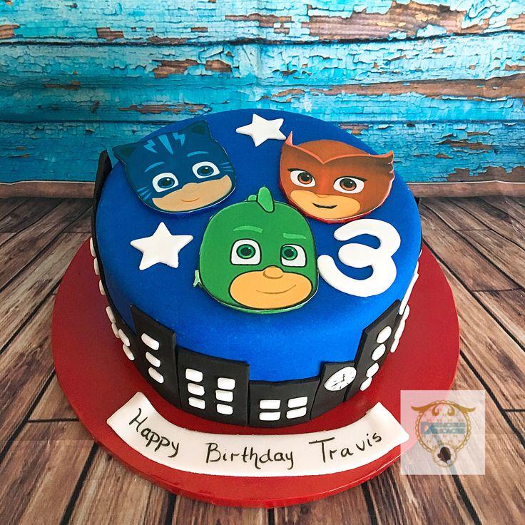 pj mask cake with edible mask  pj masks cake birthday