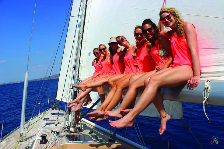 Girls on a sail boat