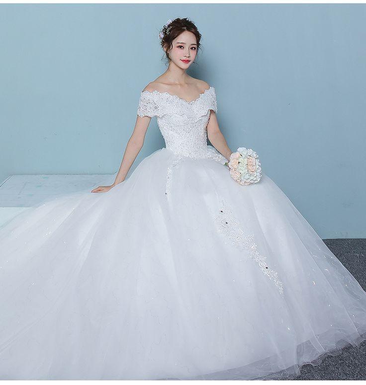 워드 어깨 웨딩 드레스 2,017 새 신부 결혼 한 한국 조선 중요한 껑충 치 후행 공주 봄
