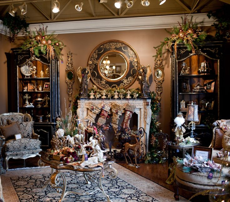 tuscan holiday decorating | , decorating four large trees, creating elaborate mantle décor ...
