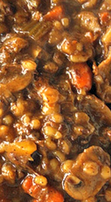 """""""Melt in Your Mouth"""" Beef and Barley Soup - so thick, it's more like a stew. Perfect for these cold winter days! ❊"""
