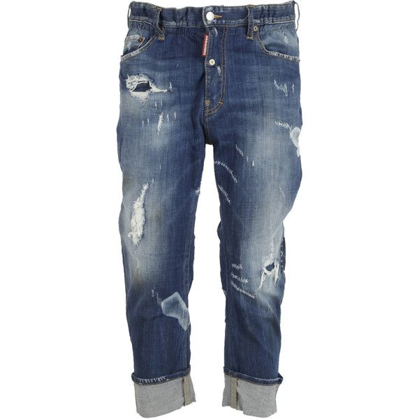 DSquared2 Big Brother Jeans ($450) ❤ liked on Polyvore featuring men's fashion, men's clothing, men's jeans, blue, mens blue jeans, mens destroyed jeans, mens distressed jeans, mens patched jeans and mens ripped jeans