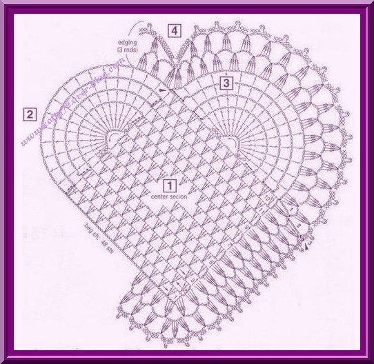 Graphic pattern for heart doily.