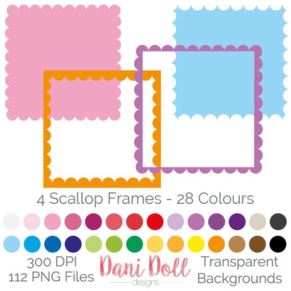 112 Scallop Styled Frames Clipart Elements Coloured PNG 300 DPI Small Commercial Use Scrapbooking Clip Art instant Download by danidolldesignsx