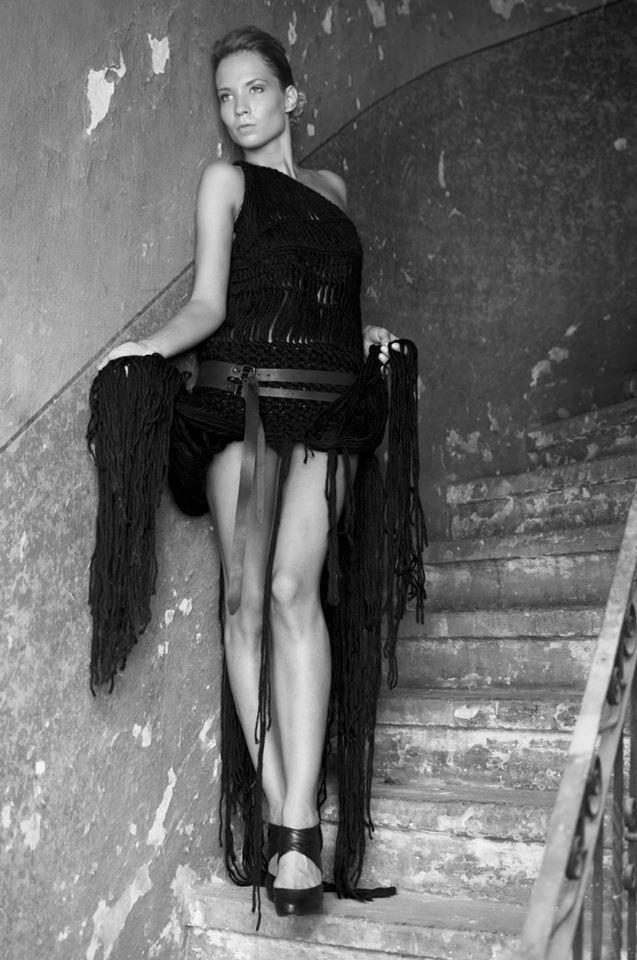 Collection of woolen women's clothing by Jana Mikešová  #wool #fashion #macrame #dress #black #janamikesova #shooting #photo #budapest https://www.facebook.com/JanaMikesovaFashionDesigner