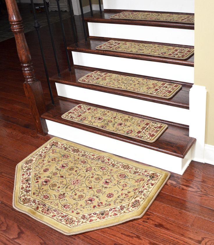 Best Dean Premium Carpet Stair Treads Classic Keshan Gold 31 640 x 480