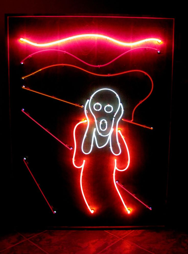 'I Scream You Scream' neon by artist Cathy Cole inspired by Edvard Munch's 'The Scream'