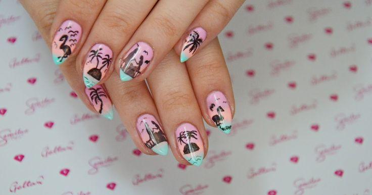 Egzotyczne i letnie paznokcie.Przedłużane, hybrydy :)