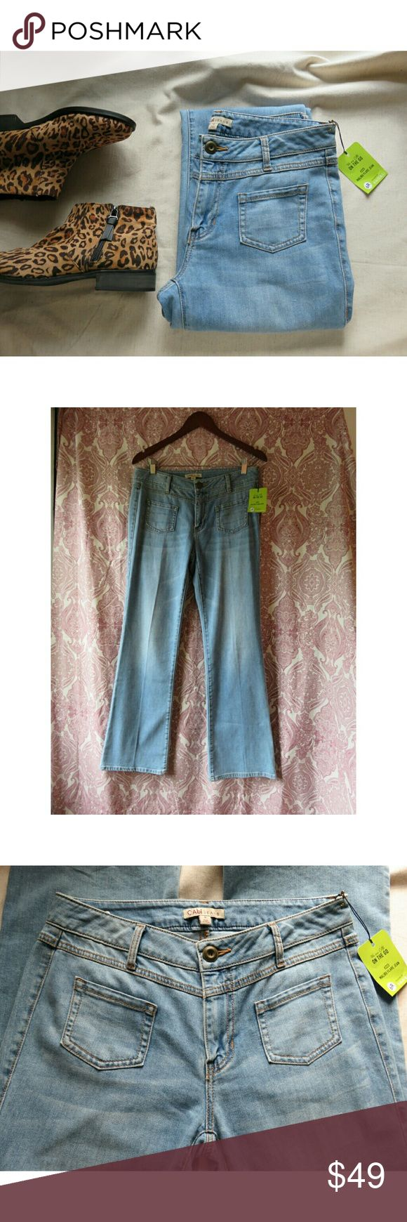 """NWT CAbi Malibu Retro 70's Flare Jeans Denim 6 New with tags and never worn from CAbi! Fun retro super flare light wash jeans, throwback from the 70's. Flat pockets at hips, 2 back pockets. Awesome stretch 84% Cotton/ 14% Elastane. Style 223R, size Ladies 6 Regular. Measures lying flat 15.5"""" across waist, 9.25"""" rise, about 20"""" across hips, and 31"""" inseam. Thanks so much! --Jen  #741 [Booties sold separately] CAbi Jeans Flare & Wide Leg"""