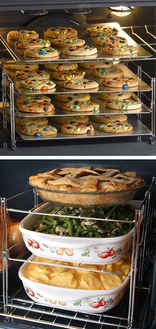 Baking Rack Insert - Maximizes Oven Space for those Heavy Baking Days & Folds Up for Easy Storage // #holidays #cooking