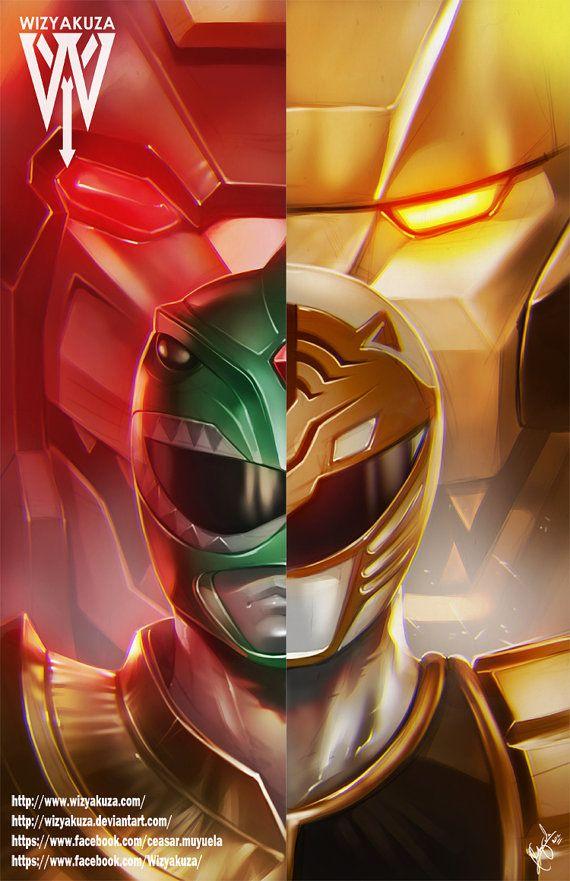 Green and White Power Ranger Split - Mighty Morpin' Power Rangers - 11 x 17…