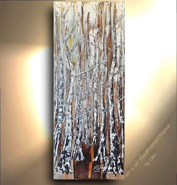 Original Painting 40x16 Brown Blue White Gold Silver