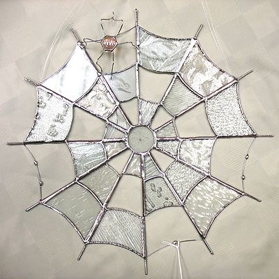 Handmade Stained Glass New Round Spider Web Clear Glass with one of Barbs spiders...
