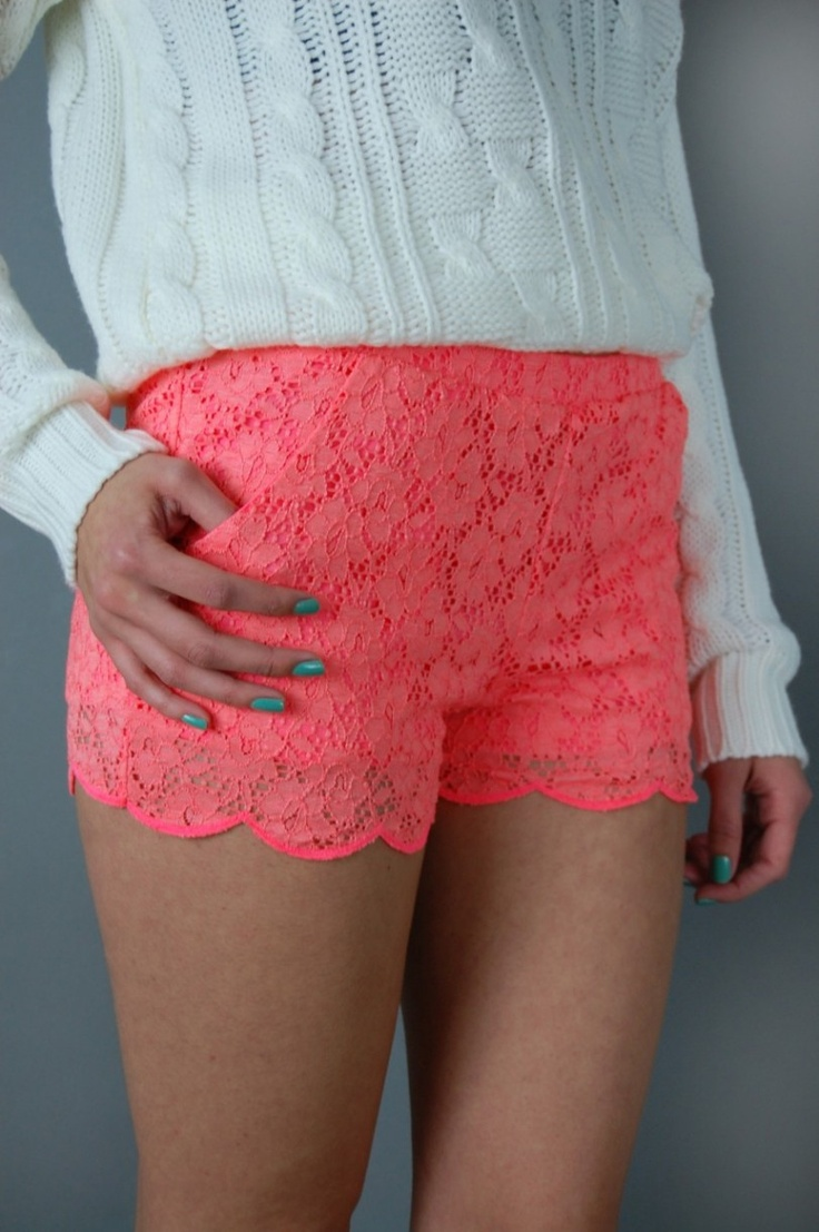 Coral Lace Scalloped Shorts.
