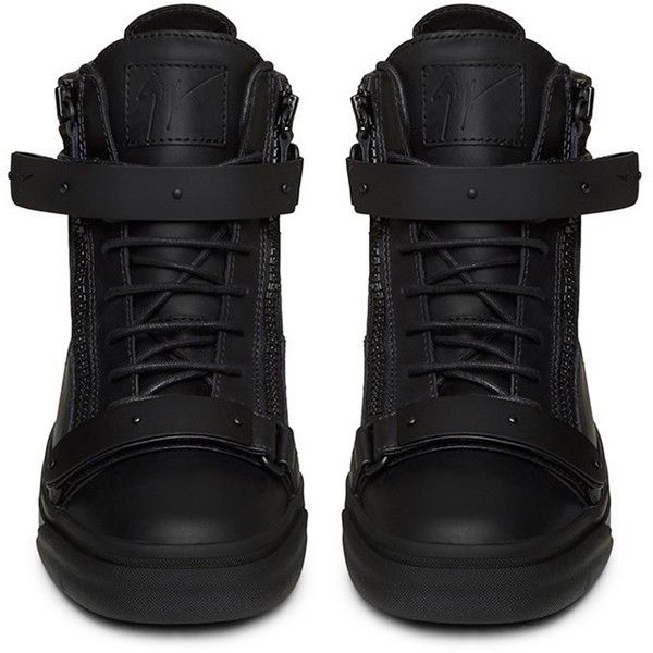 Giuseppe Zanotti Black Matte Hardwear Leather London Mid Top Sneaker ($1,366) ❤ liked on Polyvore featuring shoes, sneakers, black trainers, black shoes, kohl shoes, leather shoes and giuseppe zanotti sneakers