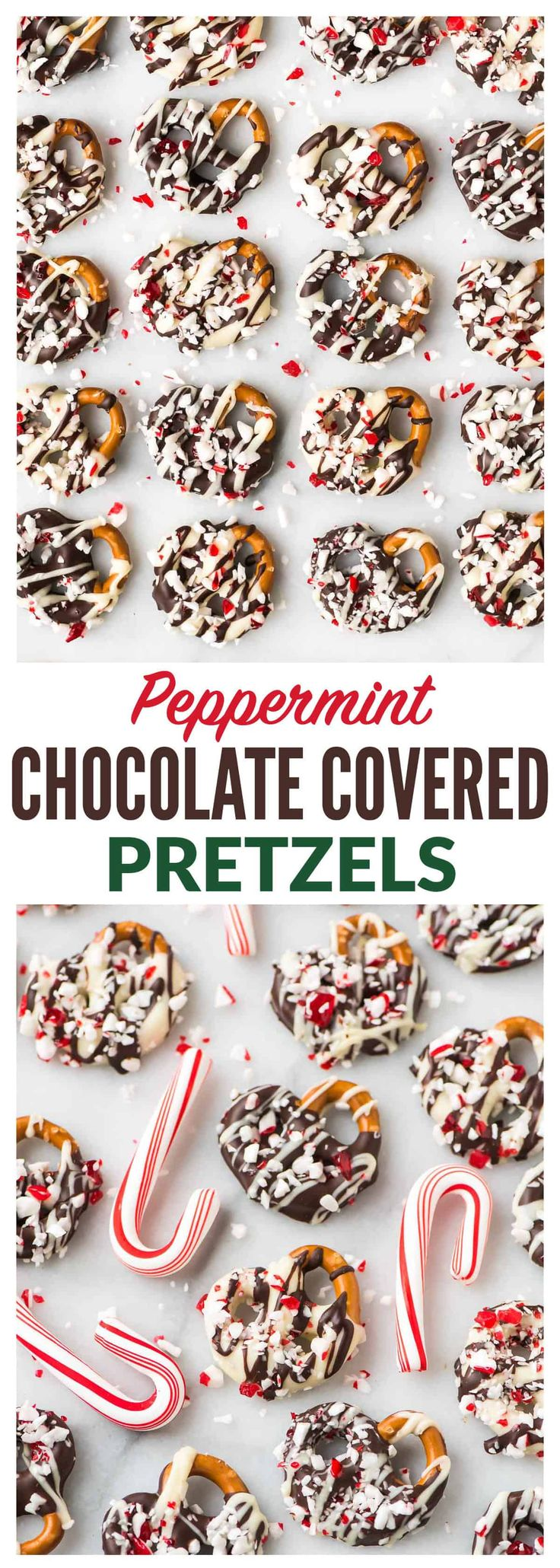 How to make easy Dark or White Chocolate Covered Pretzels with Peppermint. The perfect recipe for Christmas, Thanksgiving, and homemade holiday gifts! Simple, festive, and fun. The sweet-salt combo is completely addictive!