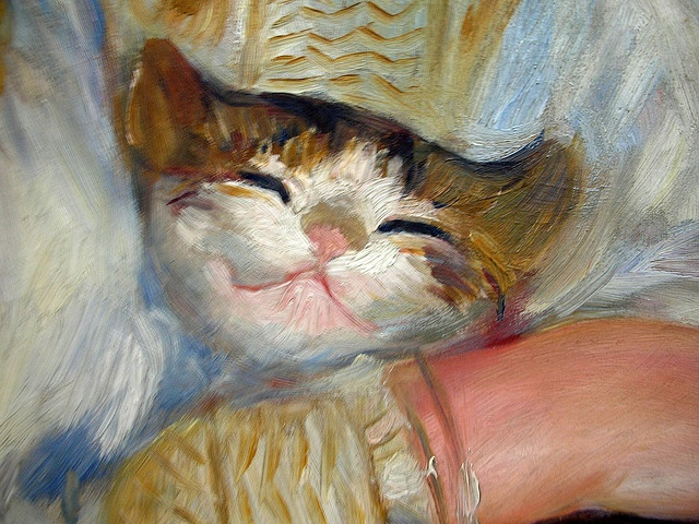 Detail from child with cat oil painting 1887 pierre for Auguste renoir paris