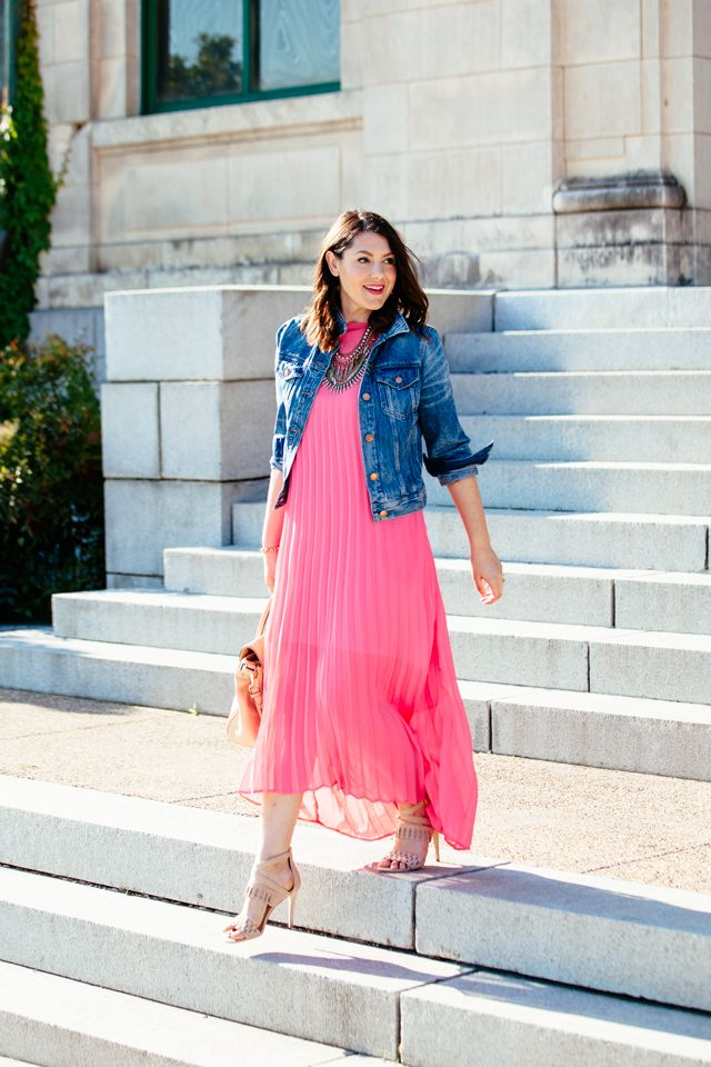 Pleated Pink Maxi & Denim Jacket