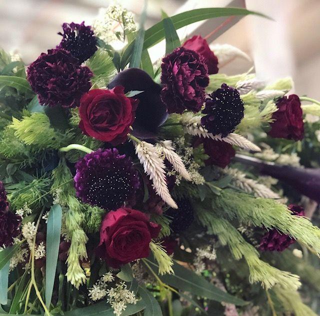 Deep Burgundy flower arch design for One Fine Day Wedding Fair | Sydney florist | romantic blooms | hunter gatherer florist