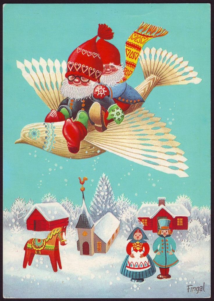 Scandinavian fan bird Christmas greeting.