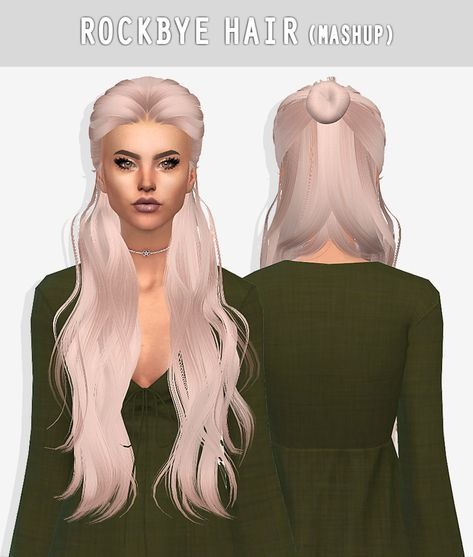 """grafity-cc: """" ROCKBYE HAIR • 14 swatches • Little transparency issues • HQ Compatible • Mashup of Skysims 72 (for TS3!) and LeaLillith Dandelion Hair. Make sure to download their creations because..."""