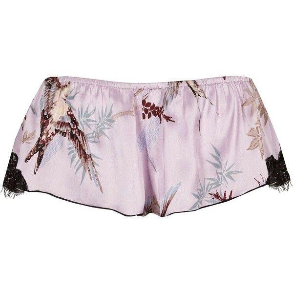 River Island Purple satin bird print mini pyjama shorts (41 AUD) ❤ liked on Polyvore featuring intimates, sleepwear, pajamas, purple, pyjamas & loungewear, sleepwear / slippers, women, purple satin pajamas, tall pajamas and purple pajamas