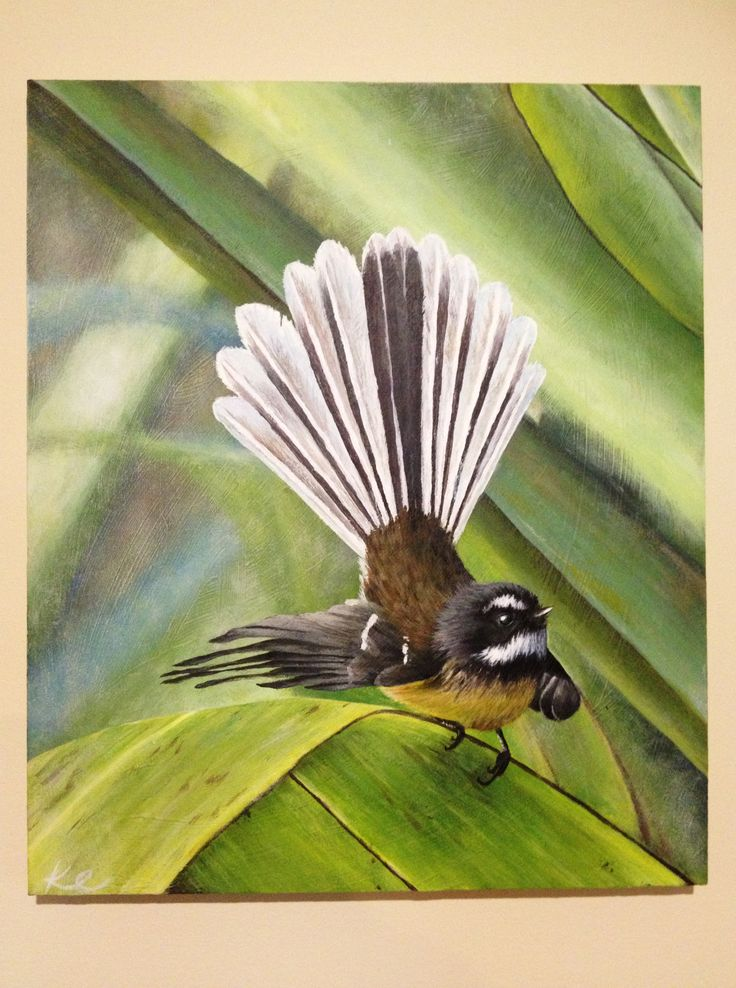 A commission Fantail painting! #art #painting #birds