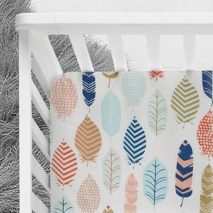 Feathers crib sheet, tribal baby bedding, gender neutral nursery