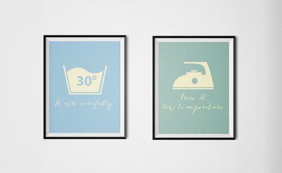 Laundry Wall Art Print - Illustration - Digital Download - Hone Decor - Typographic Art - Gift Idea - Bathroom - Washing machine Symbols