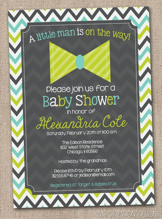 Little Man Bow Tie Printable Boys Baby Shower Invitation