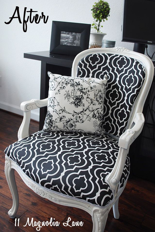 Chair reupholstered in black and white quatrefoil fabric--gorgeous!