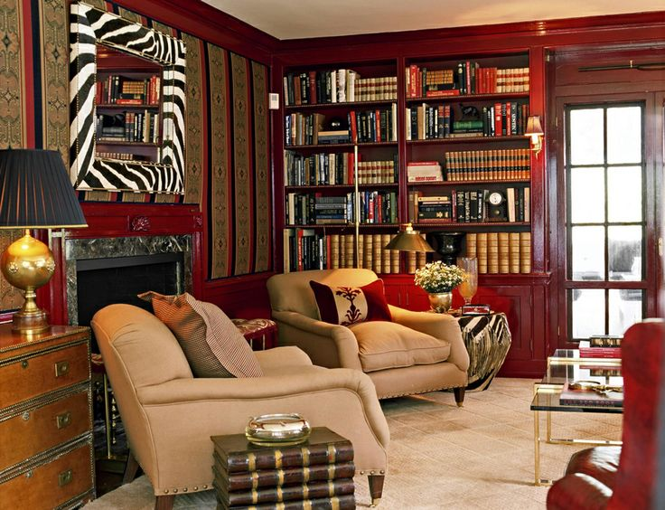 Lattingtown | Sherrill Canet Interiors | New York, NY · Red BookcasePainted  BookcasesLiving Room ... Part 91