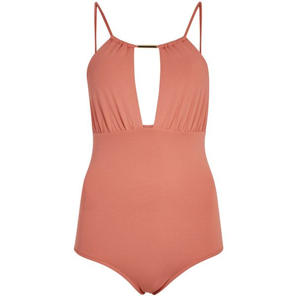 Melissa Odabash Phuket dusty rose cut-out swimsuit (£200) ❤ liked on Polyvore featuring swimwear, one-piece swimsuits, cut out swim suit, swimsuit swimwear, cut-out one piece swimsuits, swimming costumes and cut out bathing suit