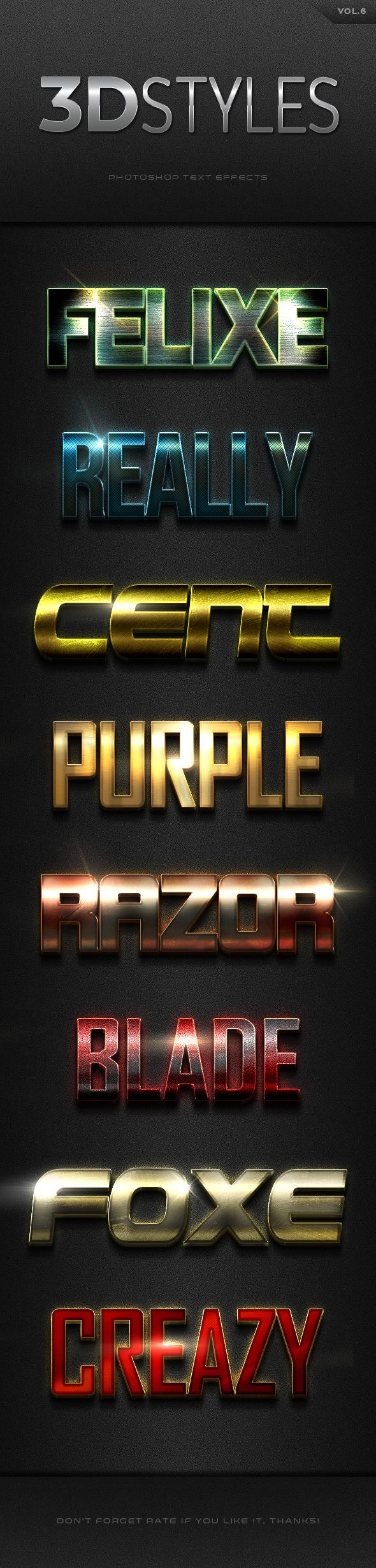 3D Photoshop Text Effects. Download here: http://graphicriver.net/item/3d-photoshop-text-effects-vol6/16594579?ref=ksioks