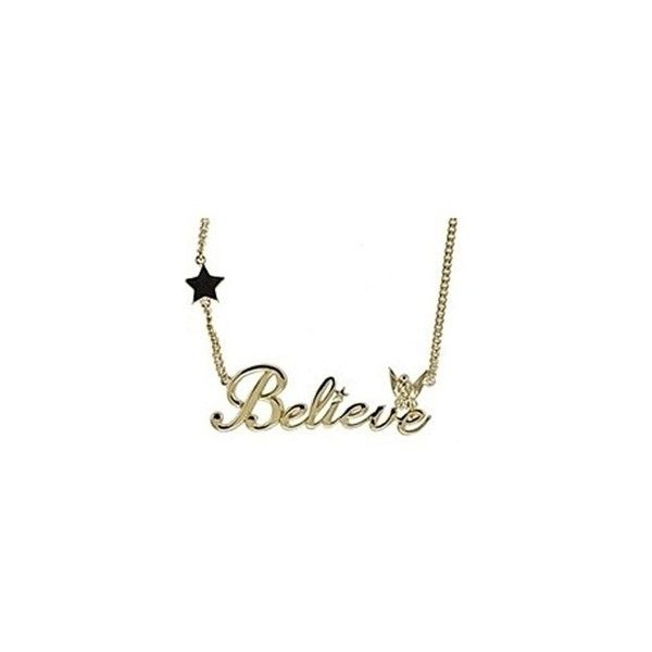 "Kidada for Disney Couture Tinkerbell ""Believe"" Necklace ($36) ❤ liked on Polyvore featuring jewelry, necklaces, disney couture, disney couture necklace and disney couture jewelry"