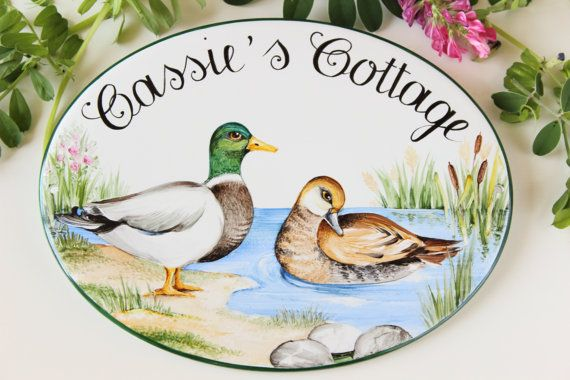 Painted sign with ducks, House plaque, House sign, Welcome sign, House name plaque, outdoor house plaque