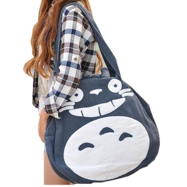 2017 Japonia Śmieszne Totoro Torba Słodkie Kreskówki Torby Na Ramię damskie Torebki Duże Panie Płótnie Torby Szkolne dla Nastolatek L989