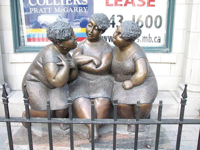 Sculpture titled: Gossip - Winnipeg, Manitoba - Love walking by this statue!  ...also in Altona!!