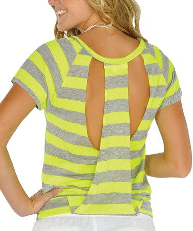 Take a look at this Neon Yellow Cutout-Back Top by Lagaci on #zulily today!