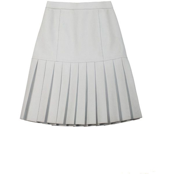 Ksenia Schnaider White Faux Suede Pleated Skirt ($818) ❤ liked on Polyvore featuring skirts, white, white knee length skirt, pleated skirt, white skirt, fitted skirts and white pleated skirt
