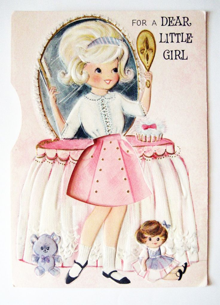 Happy Birthday Girl Illustration ~ Best images about girls dolls on pinterest girl vintage greeting cards and little